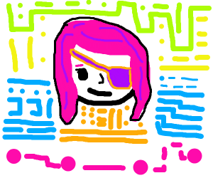 Pink-haired girl with eyepatch