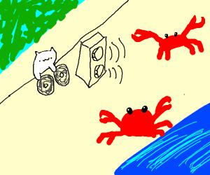 Bongo cat DJs at angry crab rave