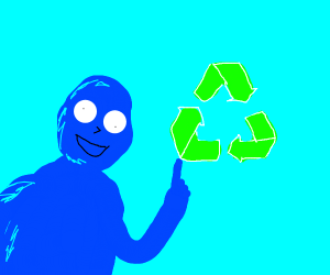 blue casual dude reminds us to recycle