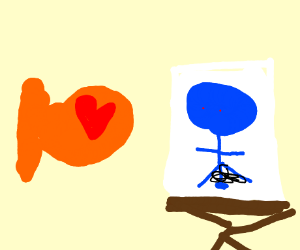 fish loves picture of naked blue man