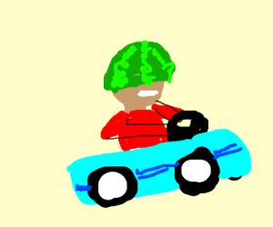 Watermelon hat guy in racecar