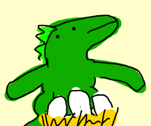 Dinosaur Protecting Eggs