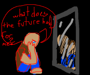 man asking a mirror what his future will be