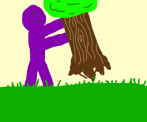 Purple Boi Takes A Tree. He Does'nt Care.