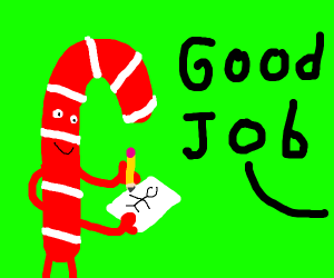 Candy-cane is drawing