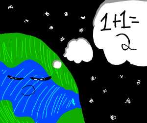 earth sleeping and thinking of 1+1=2