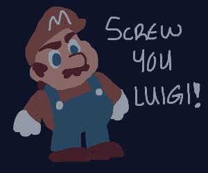 Mario being rude to Luigi