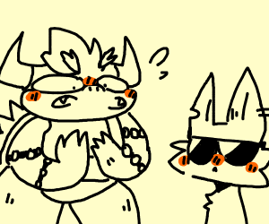 Bowser is discomforted by the hipster cat