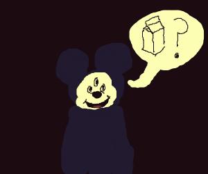 Three-eyed Mickey Mouse needs milk