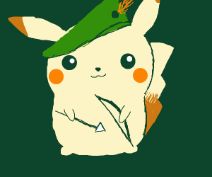 pikachu dressed like robin hood