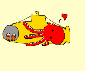 octopus begins mating with submarine