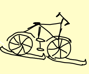Bicycle With Skis