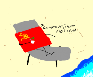 soviet flag holding up drink on beach