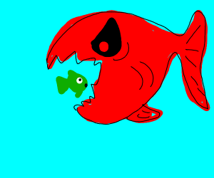 Fish getting eaten by Demon Fish