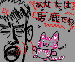 Man screaming at cat plushie