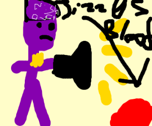 Purple guy uses a flashlight and jizzes blood