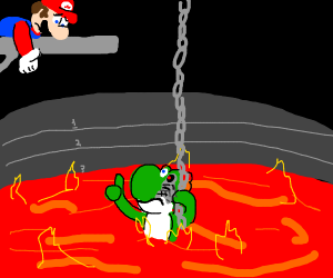 mario watches yoshi fall in lava