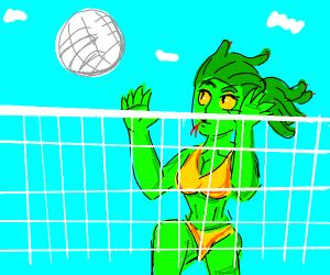 Summer beach-bod Medusa plays volleyball!