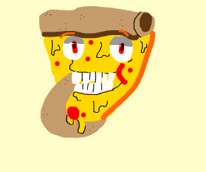 Guy eating pizza but he is the pizza