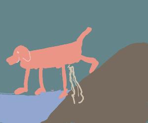 giant dog tinkling on a hillside