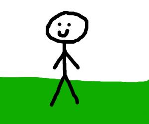 Stick man standing on grass