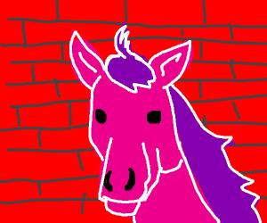 Pink horse mural