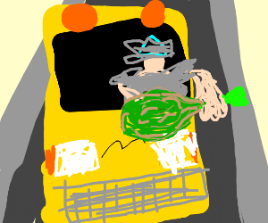 buss driver holding a green chicken drumstick