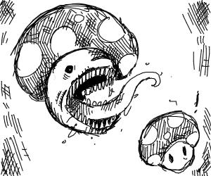 Mushroom from mario eats mushroom from mario