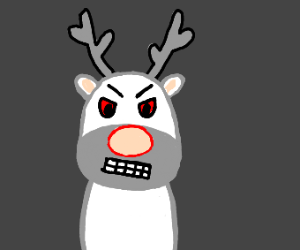 Angry albino Rudolph the red noses reigndeer