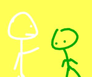White stickman pointed at green stickman