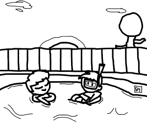 Two bros chillin in a pool