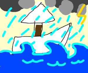 a white sailboat on a stormy sea