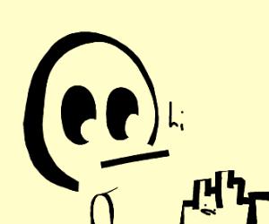 Alien bighead says hi to micro-city