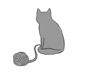 depressed cat tires of playing with yarn