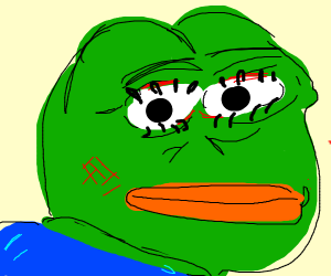 Pepe has a full makeup look