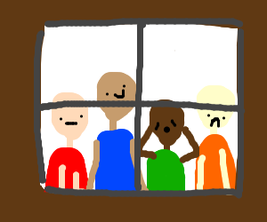 4 people look out a window