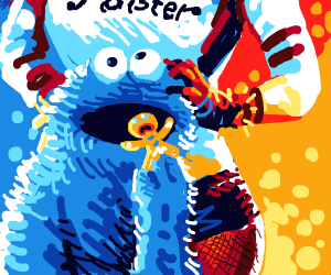 Cookie monster eats gingerbread man