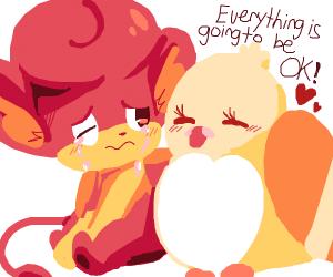 Kyoot fire type Pokemon cryin, birb reassures