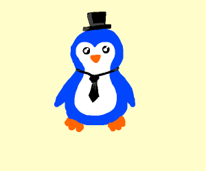 Fancy blue penguin