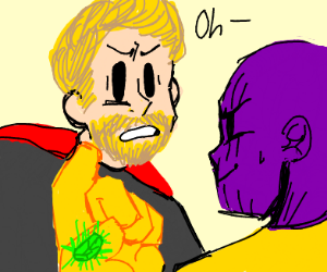 """The letter """"O"""" after Thano's snap."""