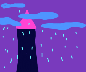 fantasy tower in rainy clouds