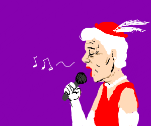 wrinkly lady in a purple room singing