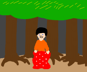 A person holding a blanket in the woods
