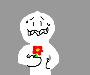 A guy awkwardly holding a red flower