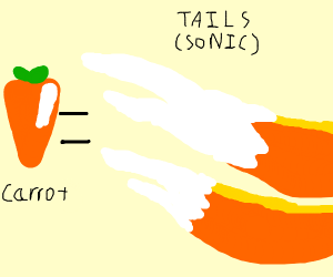 Tails' tail is actually a carrot