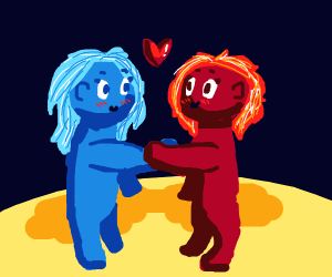 Red and blue girls meets happily