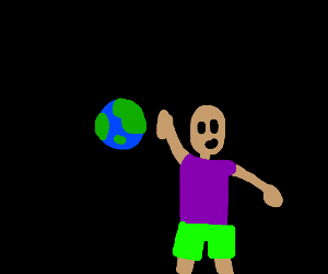 Kid plays with the earth