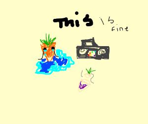 Carrot listening to sad music