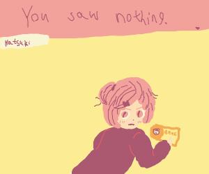 Natsuki eats ramen, doesn't want MC to see