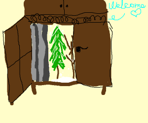 The wardrobe from Narnia saying welcome